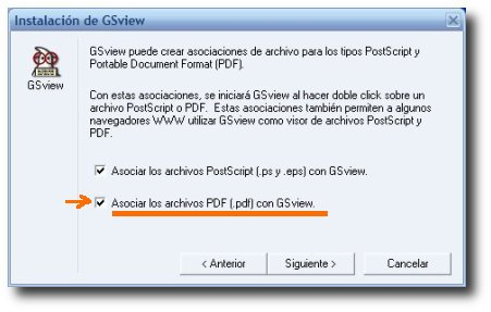captura instalalcion GSview - asociar archivos PDF